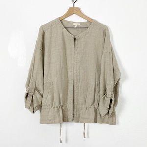 Eileen Fisher 100% Organic Linen Zip Up Jacket